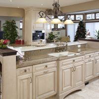 For a more traditional look, choose cabinet styles with lots of detail, an arched furniture toekick, and crown moulding.
