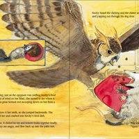 Young Owl Attacks the little Opossum