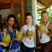 Coconut welcome drinks and happy yoginis