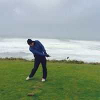 Garlin handling 50mph winds and rain during practice round at Bandon Dunes OR