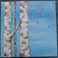 Silver Birches and pink buttons