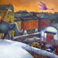Eläinten uintiretki, Tammi (2002), akryylimaalau, kirja oli Finlandia Junior -ehdokkaana