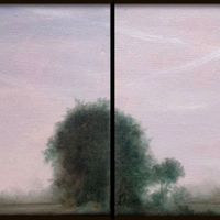 DAL TRAMONTO ALL'ALBA, diptych, 60x20, oil and pure pigments on canvas, 2014