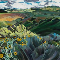 "Early Spring in the Boise Foothills 40""x50"" Oil and wax on linen"