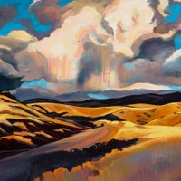 "Foothills Fall Cloudburst 18""x24"" Oil and wax on panel"