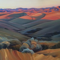 "Foothillls Westward from Tablerock 33""x55"" Oil and wax on panel"