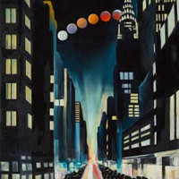 "Intersection 34 (Eclipse over New York) 24""x18"" Oil and wax on linen"