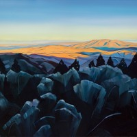 "Squaw Butte from Bogus Basin 24""x30"" Oil and wax on panel"