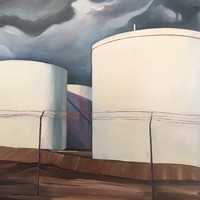 "Tank Farm  18""x24"" Oil and wax on panel"