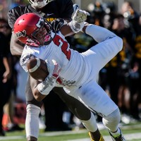 Georgia Military College cornerback T.J. Lowe pulls in an interception in front of Tyler Junior College wide receiver Savon Rollison during the first half Saturday, Oct. 10, 2015, at Trinity Mother Frances Rose Stadium in Tyler, Texas. The Apaches held off the visiting Bulldogs for a 35-7 homecoming win. (Andrew D. Brosig/Tyler Morning Telegraph)