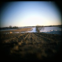 Early Holga shot: Kansas dirt road in winter, near Girard, Kansas