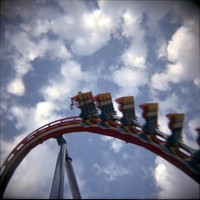 Early Holga shot: Patriot roller coaster, Worlds of Fun, Kansas City, Mo.