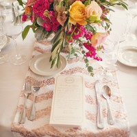 centerpiece wedding rustic colorful glitter calamigos ranch pink yellow flowers