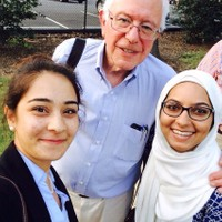 Amirah and Sommer with Presidential candidate  Sen. Bernie Sanders (I-VT)