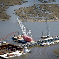 Barge working on Mississippi Gulf Coast Outlet