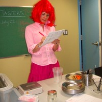 A red wig adds some spice to a menu development session at RFRK