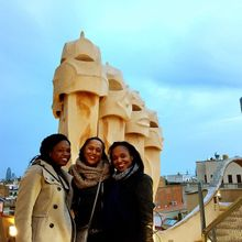 Visiting Casa Mila in Barcelona with friends