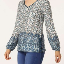 Tile printed side lace up blouse manufactured for Dorothy Perkins