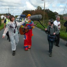 Musical frack free protest march at Camp Frack.