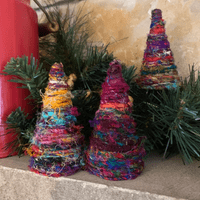Boho Sari Yarn Christmas Trees