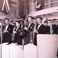 Bobby (far right) leads his 15-piece orchestra in the early 1940s