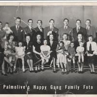 Bobby (top row, 4th from left) and wife Grace and daughter Lynn (bottom row, 2nd and 3rd from left) in a sponsorpship photo for The Happy Gang show