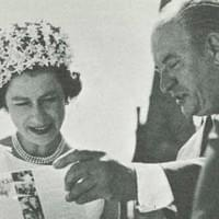 Queen Elizabeth II recieving the Canada record from centennial commissioner John Fisher (Dominion Wide - Ottawa)