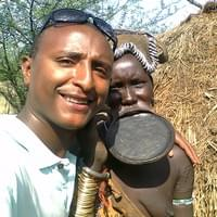 Me with a woman from the Surma tribe