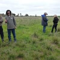Barrie Spencer and Andrew Fairney on restored grassland at Boolite