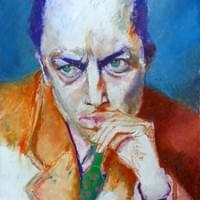Albert Camus, oil pastel.