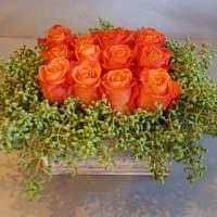 Orange_Roses_and_Pods_Centerpiece_Dallas_TX