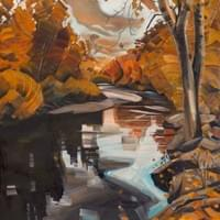 "Boise River Autumn ""51x32"" oil and wax on linen"