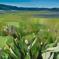 "Camas Bloom in Long Valley 24""x48"" Oil and wax on linen"