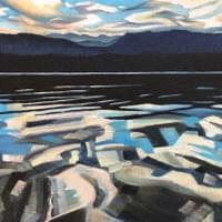 "Dawn at Payette Lake 8""x10"" oil and wax on linen"