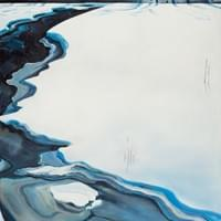 "Elaboration (Lost River in Snow) 48""x32"" oil and wax on linen"