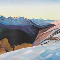 "Elaboration - October 5th 2013, Gray's Peak 24""x96"" Oil and wax on linen"