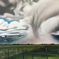 "Spring Storm in Long Valley 20""x30"" oil and wax on linen"