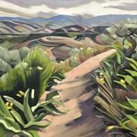 "Spring Walk in the Foothills 30""x60"" oil and wax on linen"