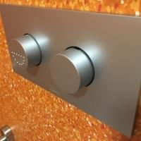 Accessible toilet half flush and full flush buttons