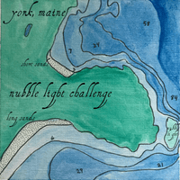 NUBBLE LIGHT CHALLENGE SWIM MAP MAINE HAND PAINTED