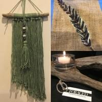 Driftwood Tealight Holder & Yarn Wall Hanging
