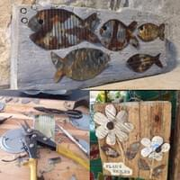 reclaimed wood and metal fish and flower art
