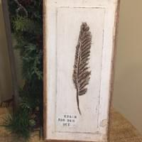 Feather Painting on Old Door Panel