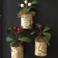 Birch magnets with faux plants