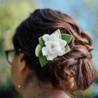 Loose bridal upstyle, contemporary and classic, felt flower accent. Bridal, wedding, upstyle, updo. Boston, Jamaica Plain, Roslindale.