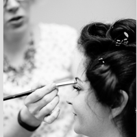 Makeup application on bride, wedding day, Boston, massachusetts