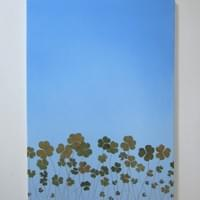 UNO SU UN MILIONE, 70x50,  oil, pure pigments, shamrocks and one fourleafclover vetrified on canvas, 2017