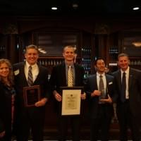 Post Board with TBEW recipients Dave O'Brian, David Fusco, Kyle Graveson (also pictured Post President Vernie Reichling and Post Vice President Stephanie Thoresen) Feb 2016