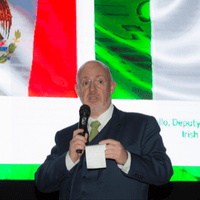 David Costello, Deputy Head of Mission Embassy of Ireland & IMC Honorary Vice President addressing St. Patrick's Day Gala in Guadalajara