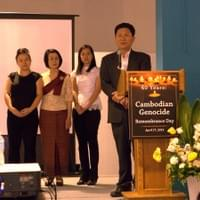 Executive Directors (L-R) Lian Cheun (KPA), Chan Hopson (KPA), Susana Sngiem (UCC), and Kimthai Kuoch (CAA) stand united  at the Cambodian Genocide Awareness Event in Long Beach - April 17th, 2015